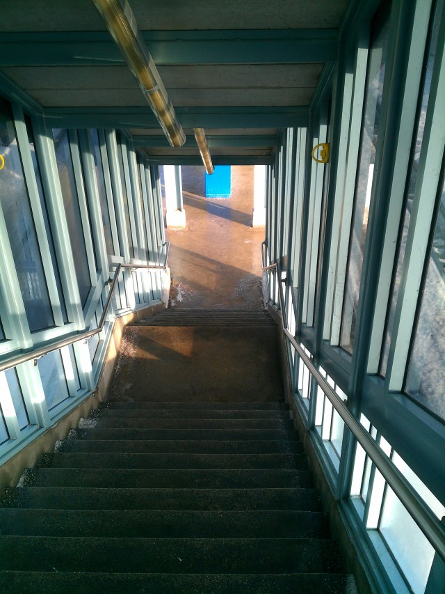 The stairs leading to my train platform.